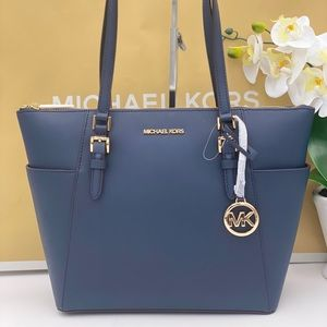 Michael KORS Charlotte Tote Shoulder Bag Navy